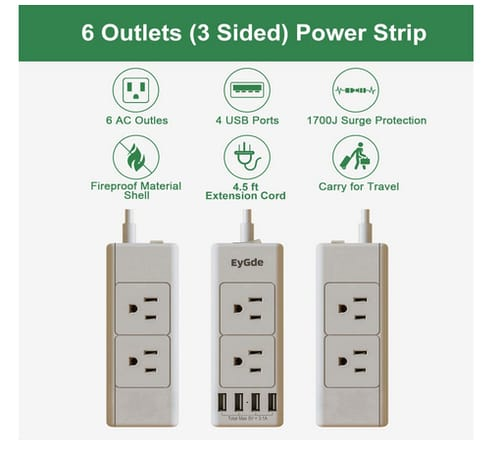 EyGde Socket Extender with 6 Outlets and 4 USB Ports