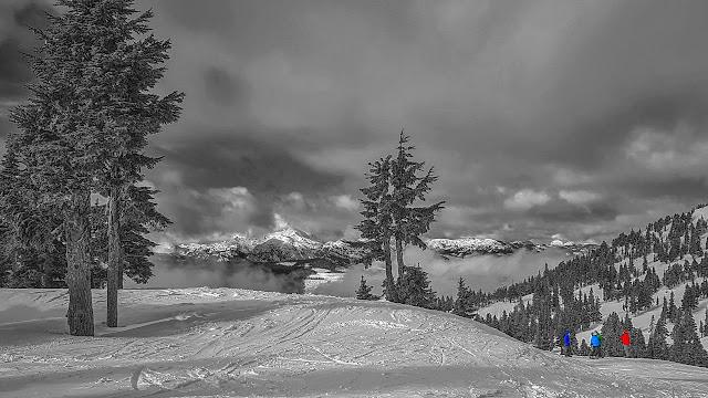 Skiers on Vancouver Island's Mt Washington
