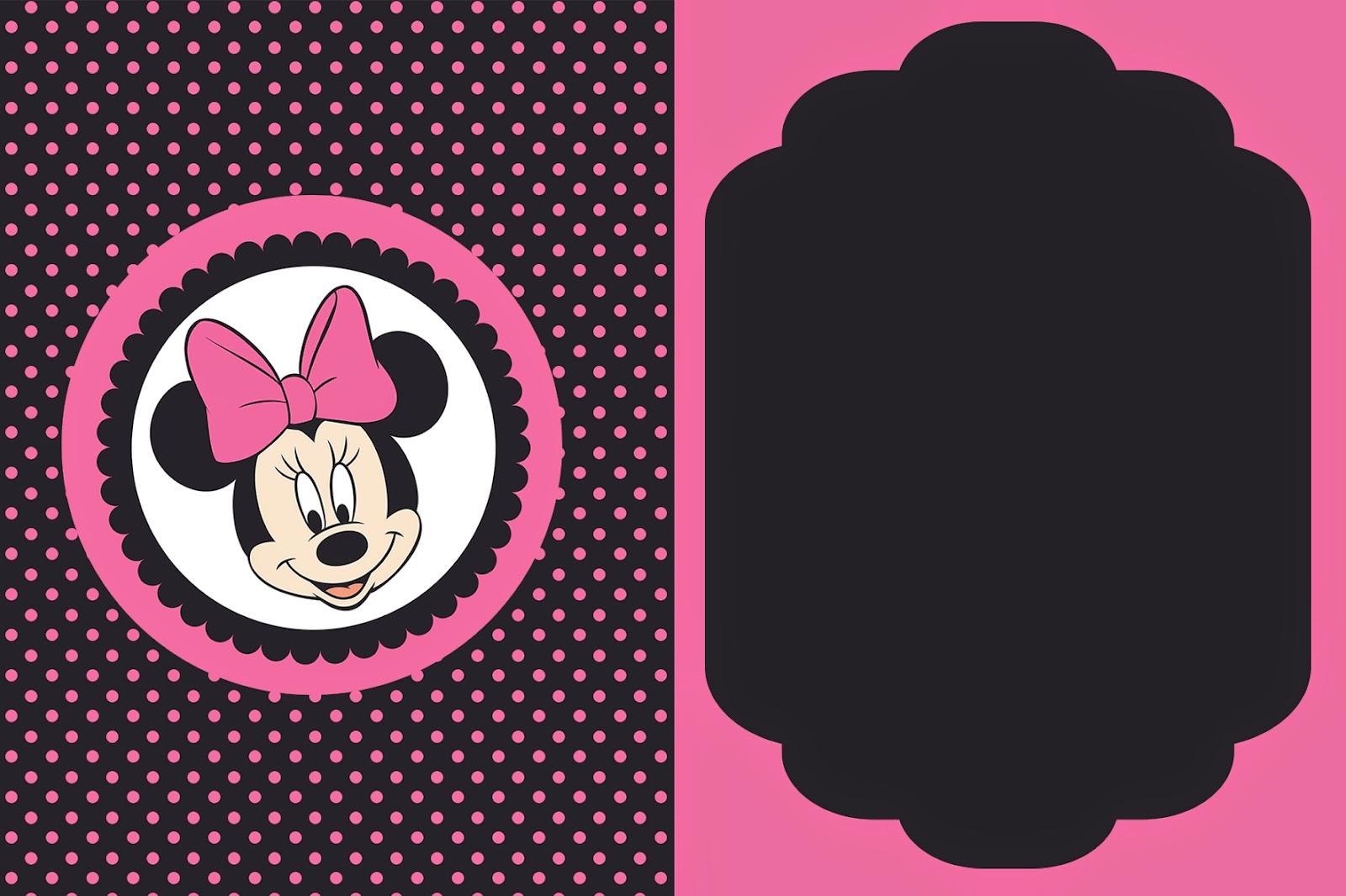 Minnie Rosa Y Negro: Mini Kit Para Imprimir Gratis