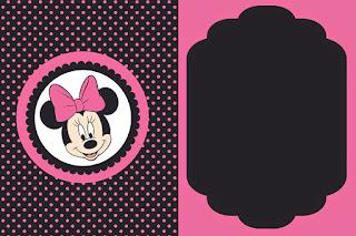 Etiquetas de Minnie Rosa y Negro para imprimir gratis.