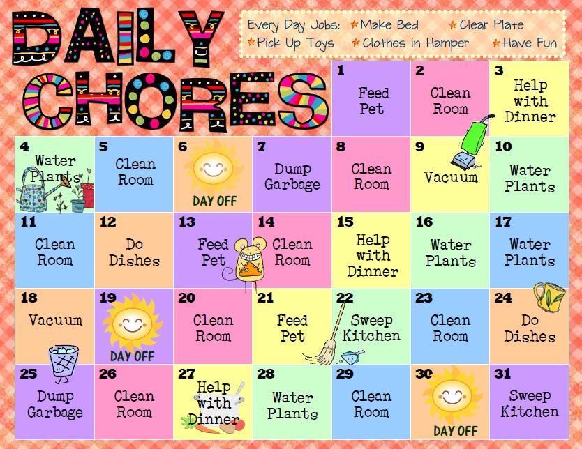 criss cross applesauce Chore Charts for Kids - sample chore chart