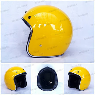 Helm Half Face/Cafe Racer/Retro/model bogo Kuning Banana