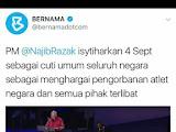 4 September diisytiharkan sebagai cuti umum
