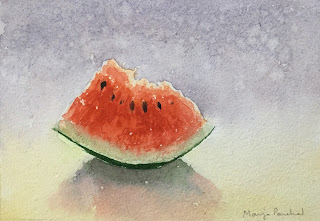 A watercolor painting of a slice of watermelon on Chitrapat handmade paper