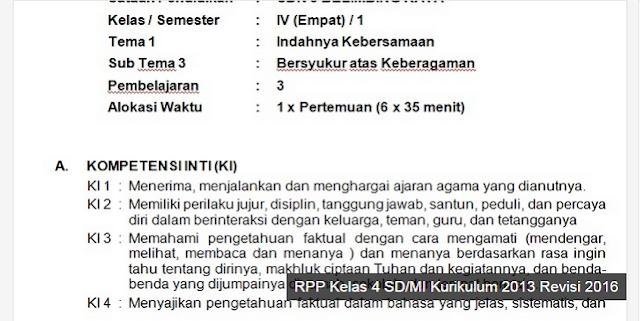 RPP Kelas 4 SD Tema 1 dan 2 Revisi 2016
