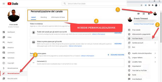 personalizzazione del canale youtube