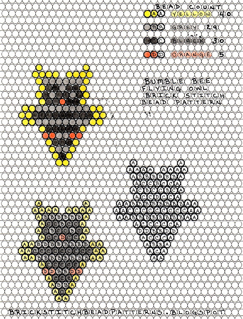Bumble bee beaded owl pendent or charm pattern.