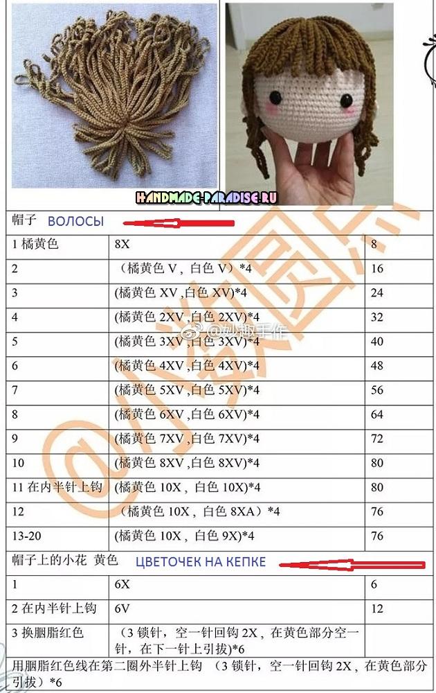 Описание вязания волос для создания прически куколки