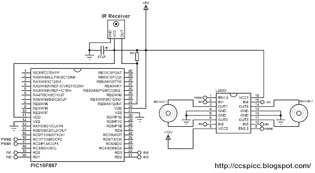 Remote controlled 2 DC motors using PIC16F887 and L293D circuit