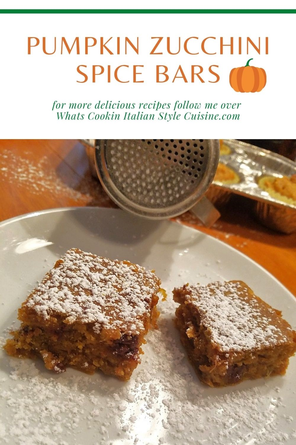 this is a pin for later on how to make pumpkin spice zucchini bars