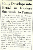 "Dartmouth Student Newspaper article from October 21, 1937, titled ""Rally Develops into Brawl as Raiders Succumb to Fumes."""