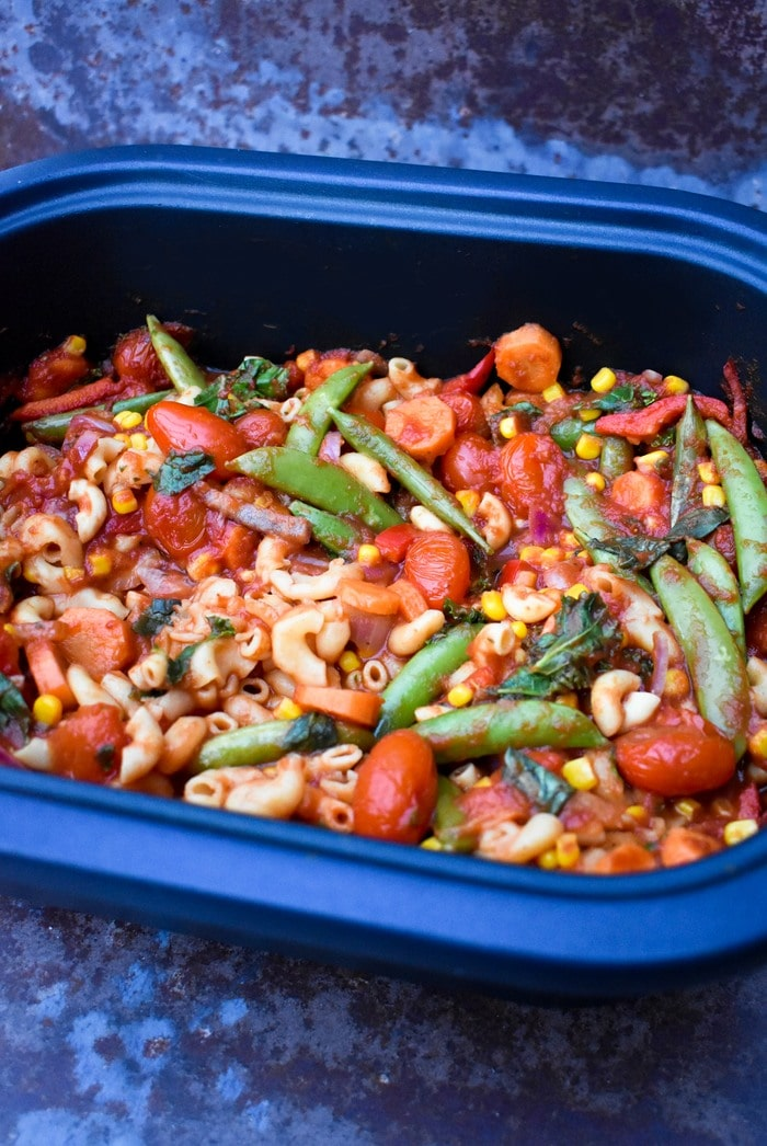 A close up of Slow Cooker Extra Vegetable Pasta