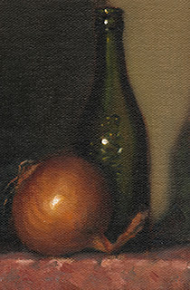 Still life oil painting of a brown onion beside a green glass bottle.