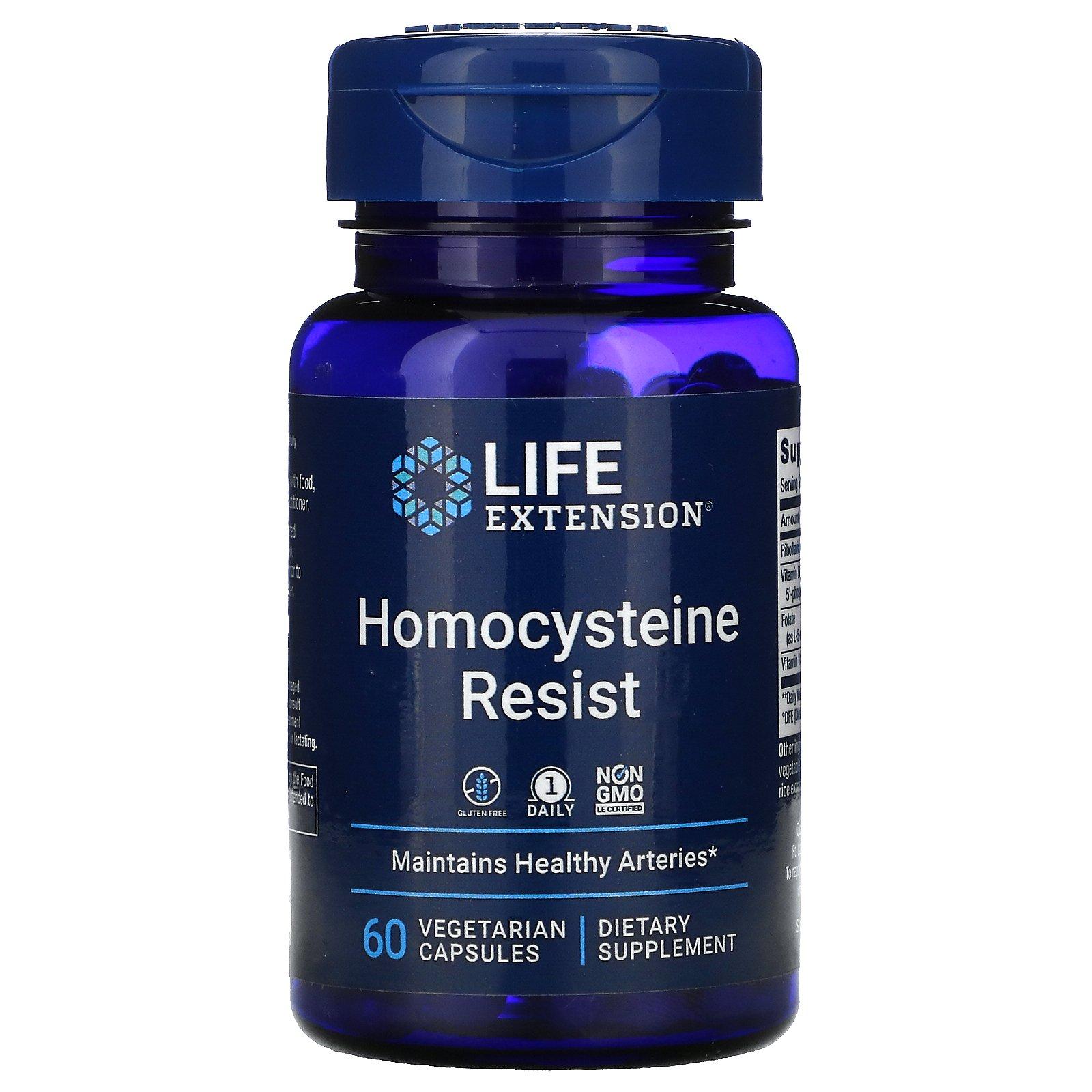 Life Extension, Homocysteine Resist, добавка для поддержания здорового уровня гомоцистеина, 60 вегетарианских капсул
