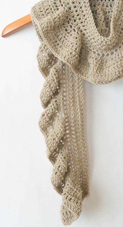 Merino Crocheted Ruffle Scarf - Free Pattern