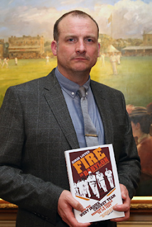 Simon Lister pictured at Lord's after receiving his award for Fire in Babylon