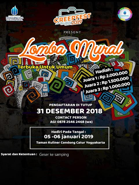 Lomba Mural Creepfest 2019 di Yogyakarta