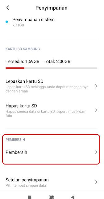 Klik Opsi Penyimpanan dan Pemebrsih Xiaomi