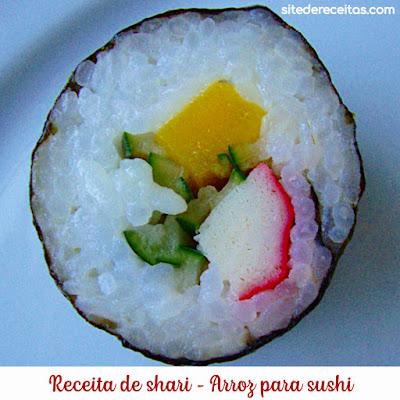 Receita de shari–arroz para sushi