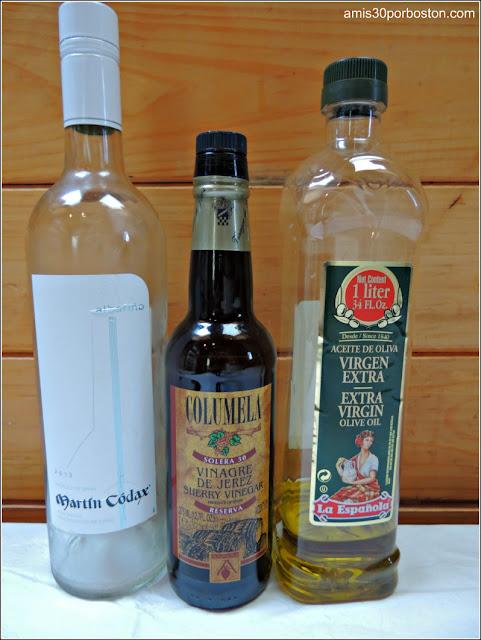 Aceite de Oliva, Vinagre de Jerez y Vino Blanco