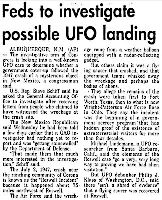 Feds To Investigate Possible UFO Landing - The Bulletin 1-14-1994