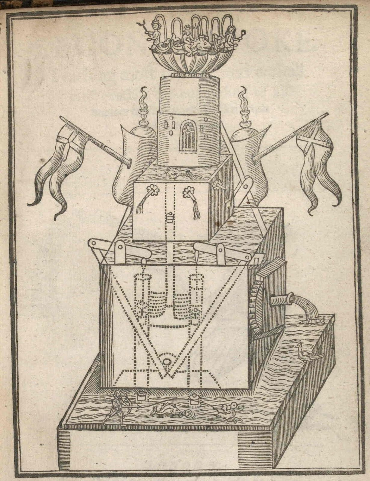 early modern water fountain - line drawing