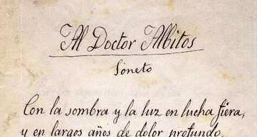 Fragmento de uno de los sonetos que Rosario de Acuña regaló al doctor Albitos