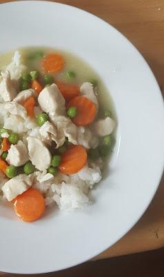 Hühnerfrikassee mit Reis