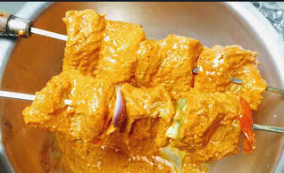 Threaded fish cubes in shewer for fish tikka recipe