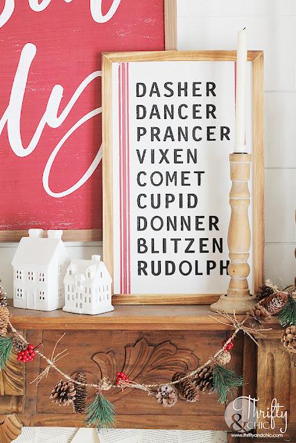 Christmas living room decor and decorating ideas. Red and white christmas decor. Farmhouse Christmas decorating ideas. Christmas tree decorating ideas. Fireplace mantel christmas decor.