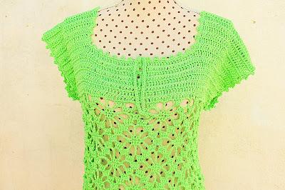 2 - Crochet IMAGEN Blusa verde a crochet y ganchillo muy fácil y sencilla. MAJOVEL CROCHET