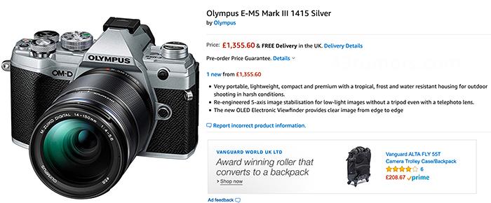 Скриншот онлай-магазина с Olympus OM-D E-M5 Mark III
