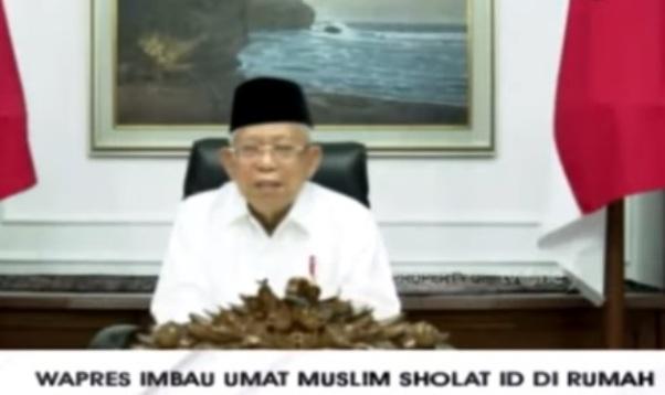 COVID-19 Berbahaya, Wapres Ma'ruf Amin Imbau Umat Muslim Shalat Ied Dirumah