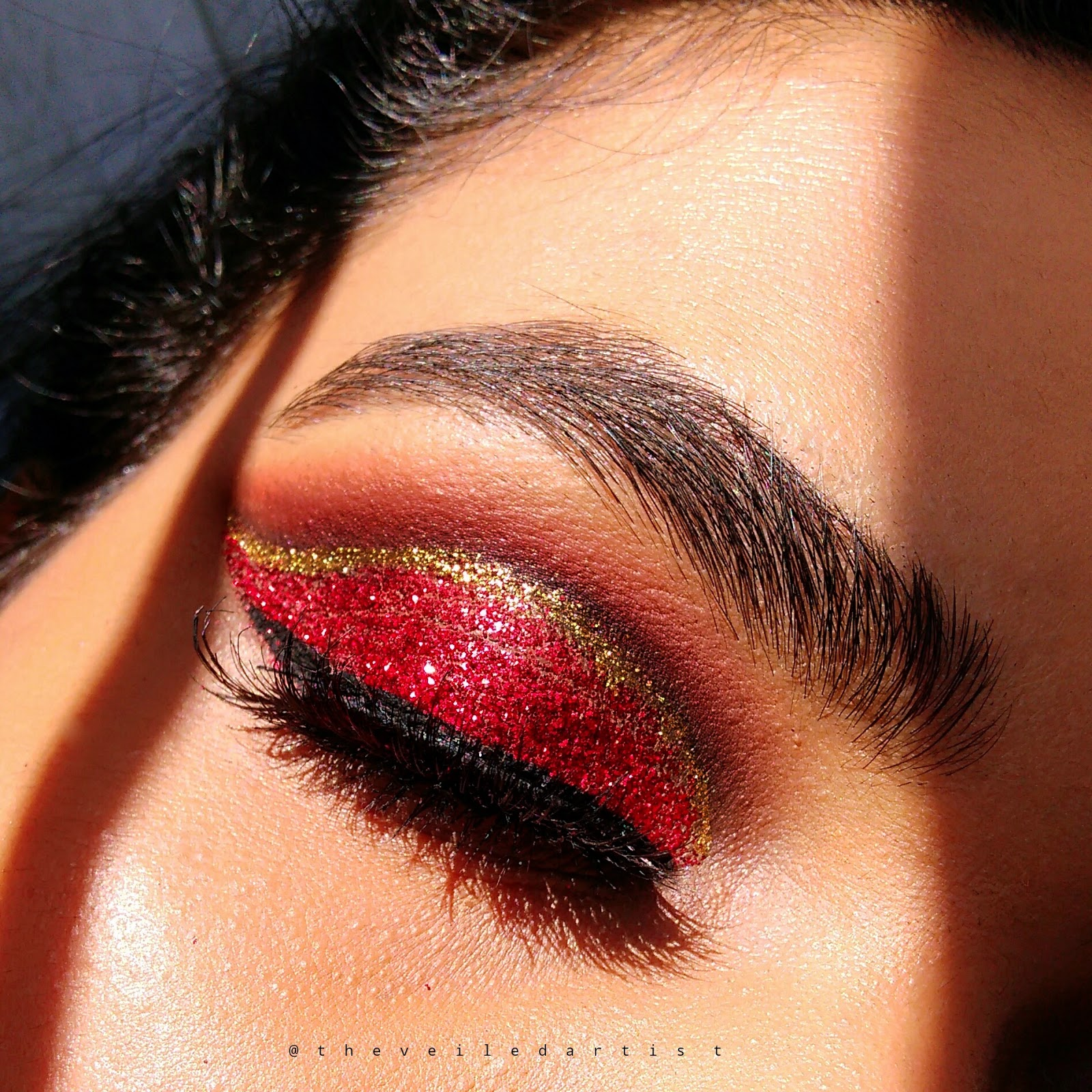 Red And Gold Glitter Cut Crease