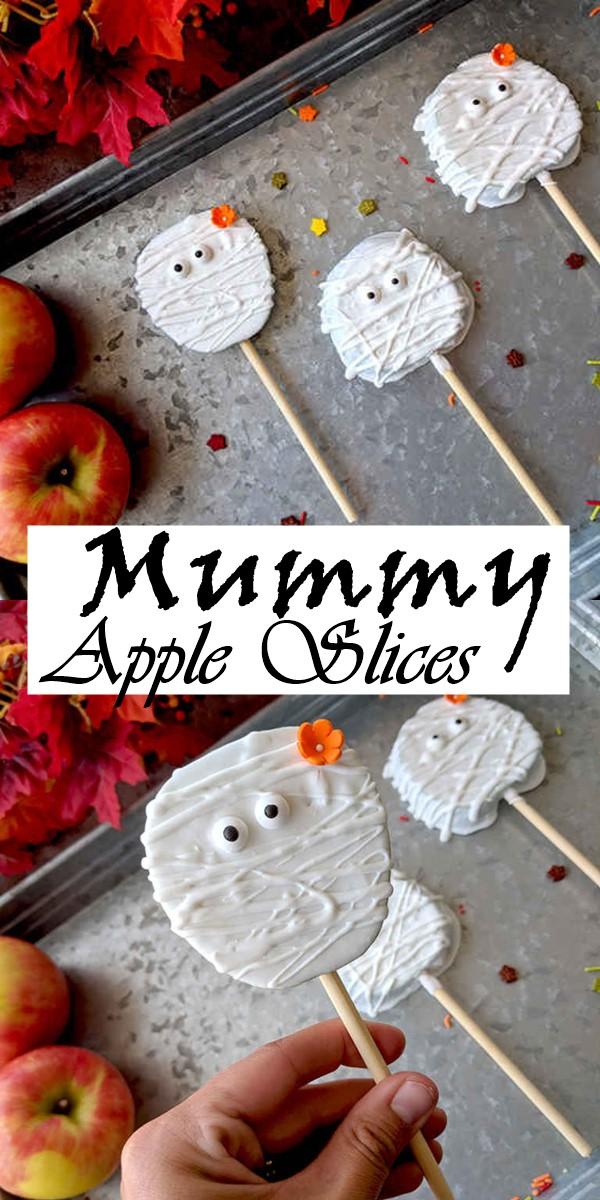 Mummy Apple Slices #halloweenrecipes
