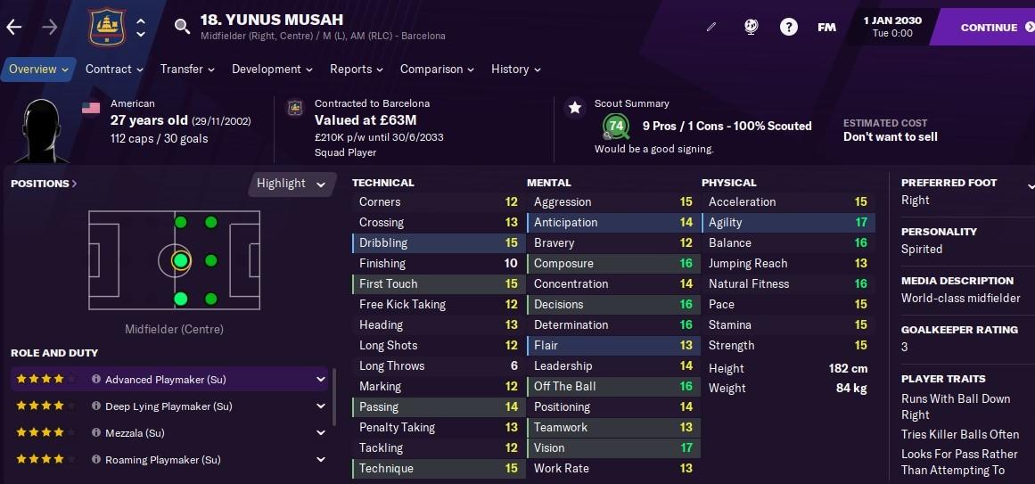 Yunus Musah Football Manager 2021 FM2021