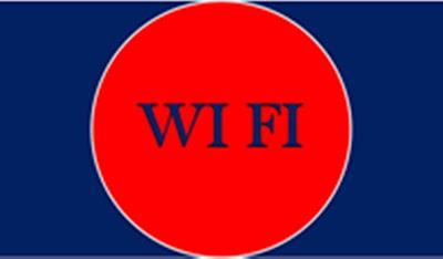 A imagem retangular de fundo azul e ao centro tem um circulo na cor vermelha e está escrito a wi-fi a tecnologia de compartilhamento da internet grátis. O circulo representa a extensão da área de alcance do roteador.