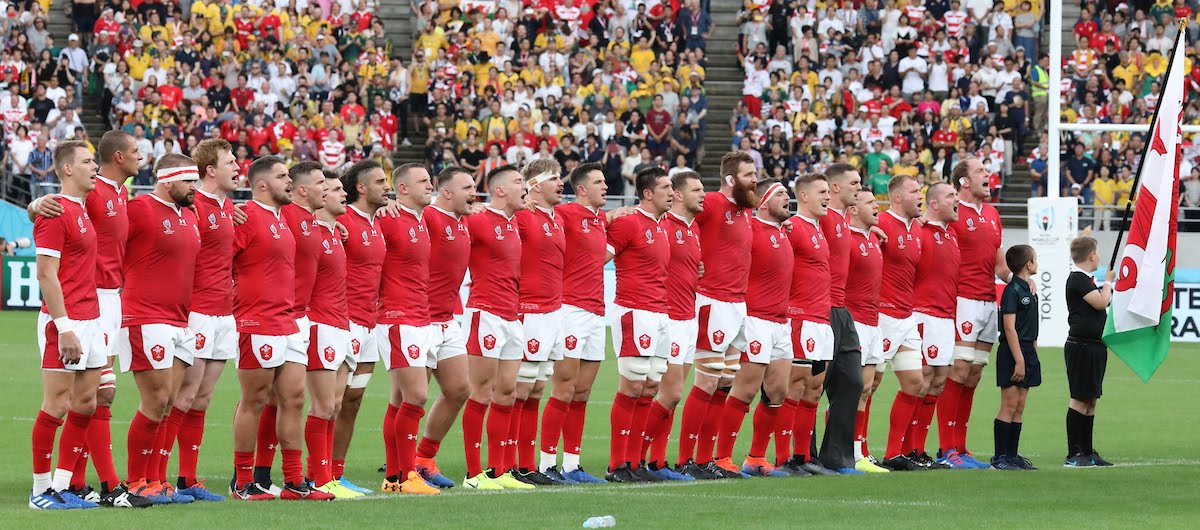 Wales line up for their national anthem. Australia v Wales, Rugby World Cup, Pool D, Tokyo Stadium, Tokyo, Japan, Sunday 29th September 2019