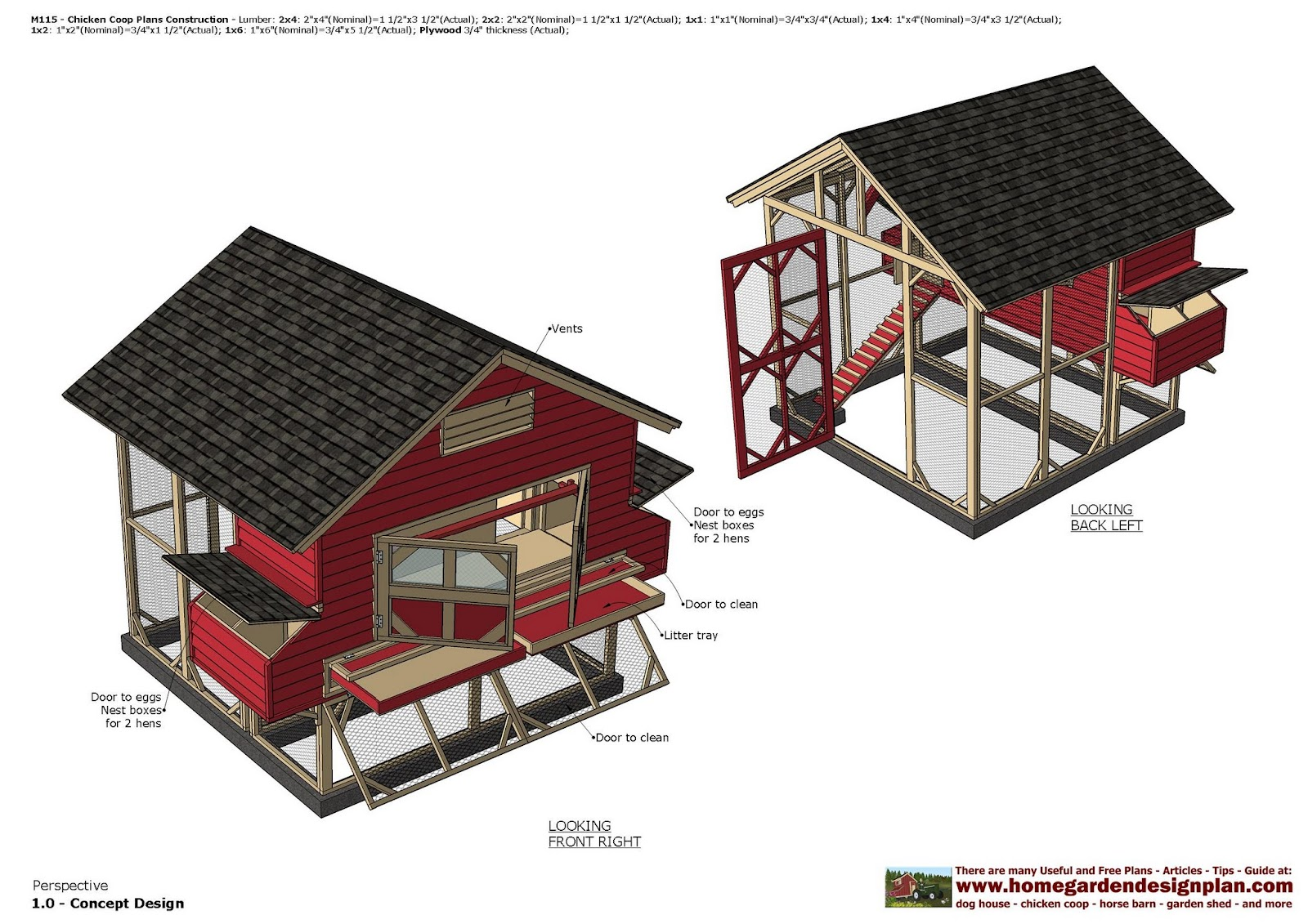 Home garden plans m115 chicken coop plans chicken for Plans for a chicken coop for 12 chickens