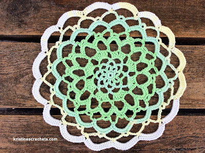 Shades Of Green Crochet Doily - Easy Free Pattern