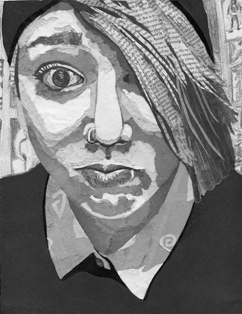 I decided to do a monochrome portrait collage piece using newspapers and magazines of my daughter she is full of personality and another creative soul