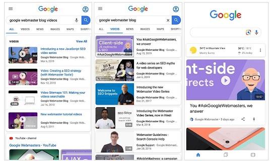 Google search testing video carousel