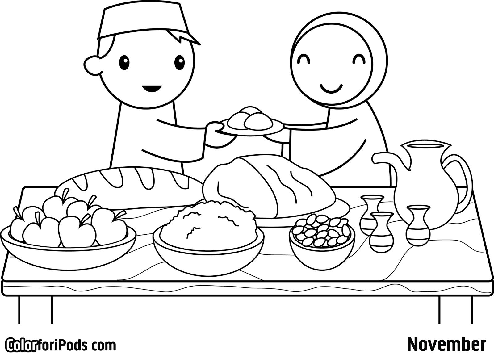 Gambar Mewarnai Ramadhan Ceria