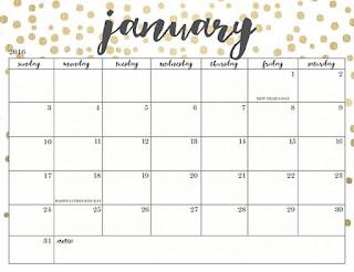 Free Printable Calendar January 2018