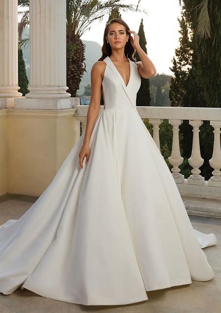 K'Mich Weddings - wedding planning - wedding dresses - halter neckline satin ball gown - justin alexander