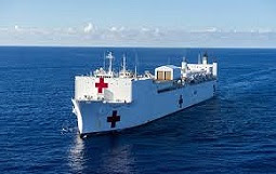 USNS Comfort docks are pier 90 at the Manhattan Cruise Terminal. Ship to provide much needed hospital beds.