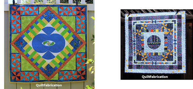 blue, orange, green and yellow quilt, plus one in blue with stars