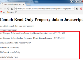 Read Only Property  dalam Javascript