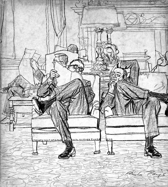 an Austin Briggs illustration of two men talking in a men's club reading room