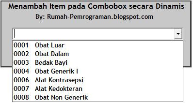 Source Code Menambah Item pada ComboBox VB6 secara Otomatis dan Dinamis
